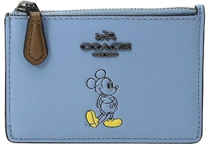 Coach Coach 56265 Disney Mickey Blue Jay Smooth Leather Mini Skinny Wallet