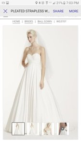David's Bridal Strapless Ballgown Wedding Dress