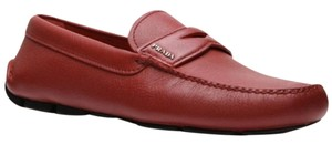 Prada Gucci Ferragamo Leather Driver Loafer Red Athletic