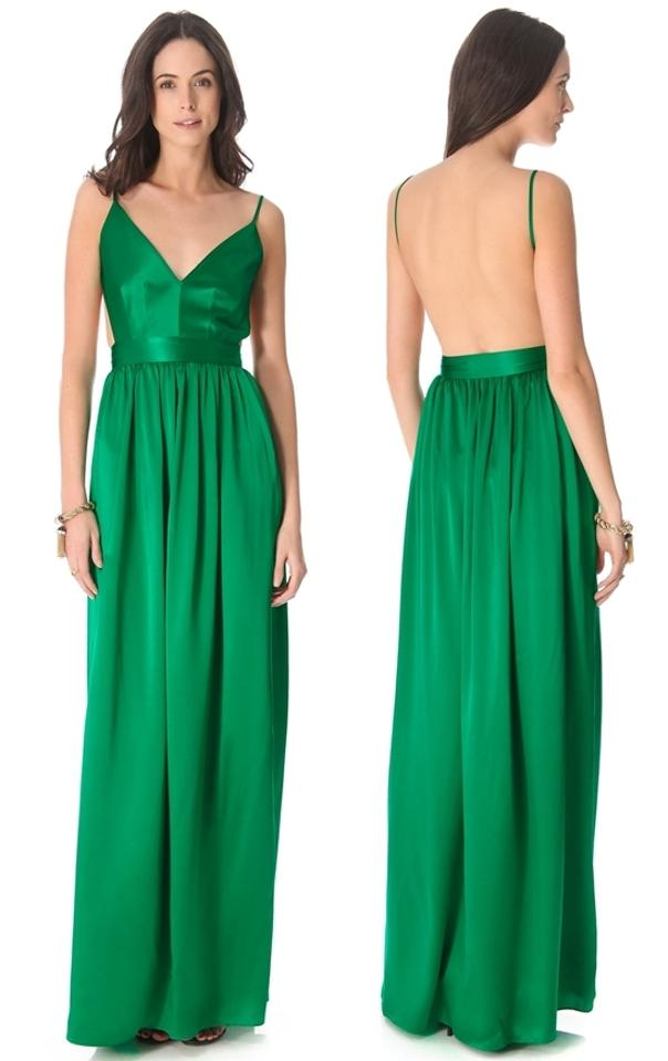 7fb9310be1 ONE by Contrarian Green Babs Bibb Silk Backless Emerald Maxi Gown ...