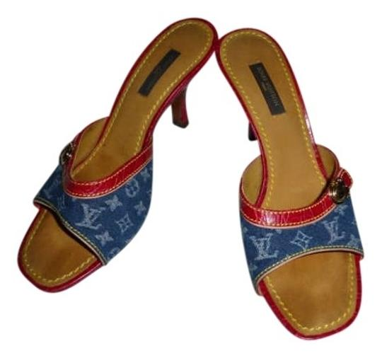 Louis Vuitton Monogram Denim with Leather trim Sandals