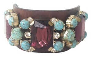 Valentino Valentino Faux Gem Leather Cuff