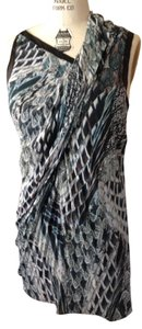 Helmut Lang Asymmetrical Draped Sexy Feather Printed Cocktail Dress