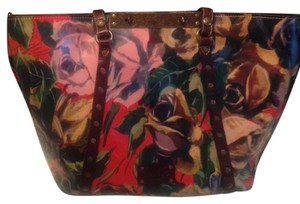 Patricia Nash Designs Floral Contrast Stitching Tote in Blooming Romance