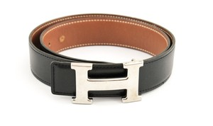 Herms #9457 32Mm Silver H Size 70 Reversible Belt Black on Gold