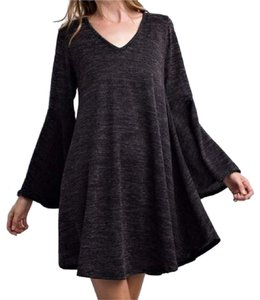 Southern Girl Fashion short dress Black Grey Mix Sweater Bell Sleeve Long Mini Swing Tunic Bohemian Festival Winter Fall Spring on Tradesy
