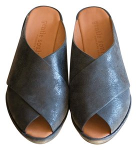 Kenneth Cole Gentle Souls Leather Sandals Black Mules