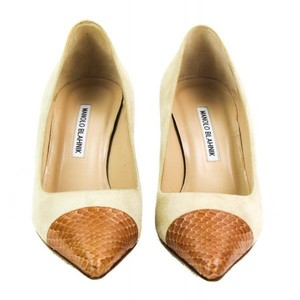 Manolo Blahnik Suede Brand New Snakeskin Tan Pumps