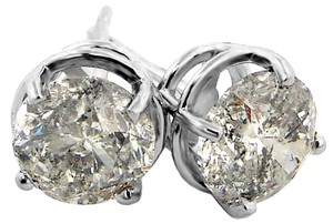 ABC Jewelry 1-14Kt white gold basket set earrings set with two genuine brilliant cut diamonds weighing 1.98ct