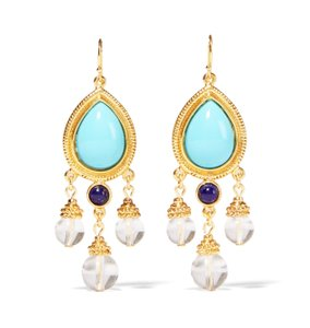 Ben-Amun NEW Turquoise and Lapis Gold-tone Dangle Earrings