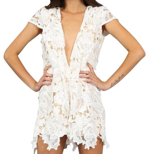 b69baae97db White Cream Mix Lace Floral Neck Xs Romper Jumpsuit  20210152 - Rompers    Jumpsuits