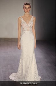 Lazaro V-neck Lace Trumpet Dress Wedding Dress