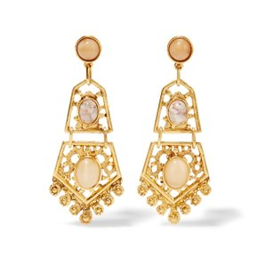 Ben-Amun NEW Elegant Stone and Gold Filagree Knocker Drop Earrings