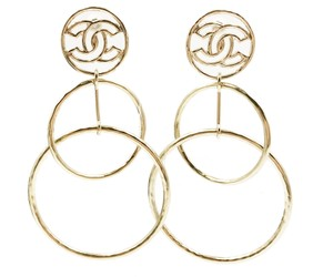 Chanel Brand New 17 Chanel Gold Round CC Dangle Large Piercing Earrings