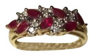 Other 14KT Yellow Gold Diamond & Ruby Ring Size 6.5
