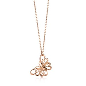 Tiffany & Co. 18K Rose Gold Butterfly Pendant Necklace New