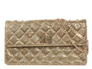 Chanel Ch.k0921.06 Metallic Shimmer Quilted Fabric Shoulder Bag