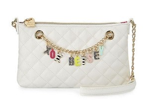 Betsey Johnson Quilted Charm Front Give Me A B Cross Body Bag