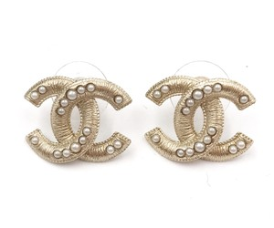 Chanel Brand New Chanel Gold Textured CC Pearl Piercing Earrings