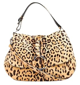 Ralph Lauren Tan Calf Hair Leopard Print Front Flap Shoulder Bag