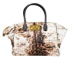 VBH Cream Patterned Pony Hair Tote in Brown