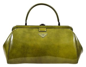 Prada Patent Leather Satchel in Green