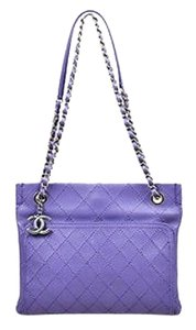 Chanel Leather Wild Stitch Silver Tone Chain Shoulder Bag