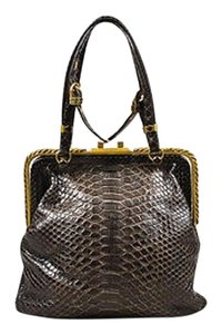 Bottega Veneta Dark Python Frame Handbag Tote in Gray