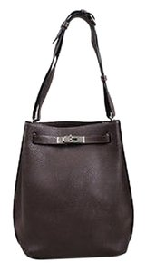 Hermès Chocolate Togo Leather So Kelly 22 Shoulder Bag