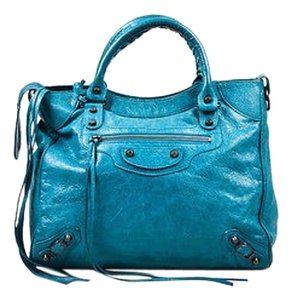 Balenciaga Teal Leather Tote in Blue