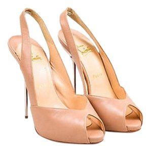 Christian Louboutin Boulimina 120 Shw Leather Slingback Heels Nude Pumps