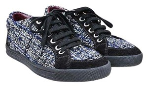 Chanel Navy White Tweed Suede Trim Pearl Accent Lace Up Sneakers Black Athletic