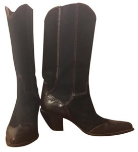 Donald J. Pliner Suede Leather Western Black and brown Boots