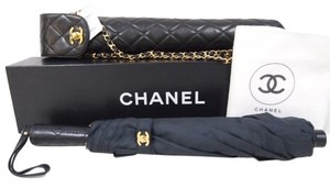 Chanel Chanel RARE Vinyl Quilted Umbrella Lambskin Handel Chain Gold Crossbody Box Dusbag