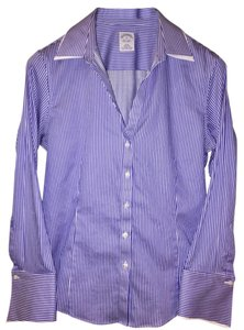 Brooks Brothers Work Pinstripe Fancy Button Down Shirt Blue and White