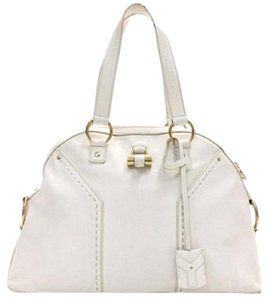 Saint Laurent Ysl Brass Leather Paris Hilton Tote in Ivory