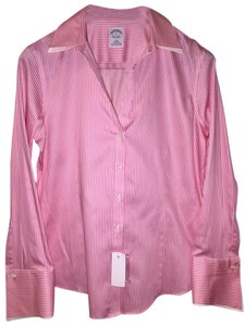 Brooks Brothers Work Pinstripe Fancy French Cuff Cuff Button Down Shirt Pink and White