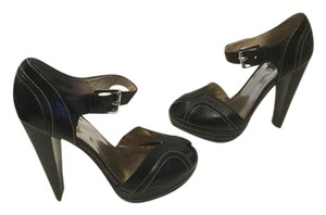 MICHAEL Michael Kors Wide Ankle Straps Stack Wood Heels White Topstitching Black leather peep toe pumps Platforms