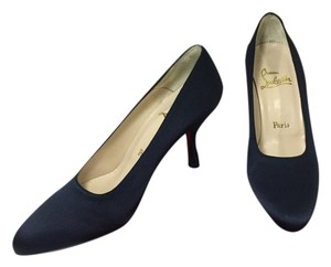 Christian Louboutin New Navy Crepe Satin Navy Blue Pumps