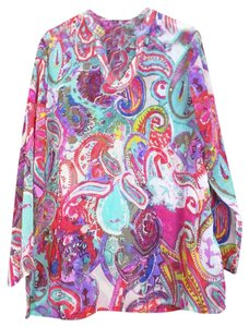 TravelSmith Sheer Colorful Print Paisley Tunic