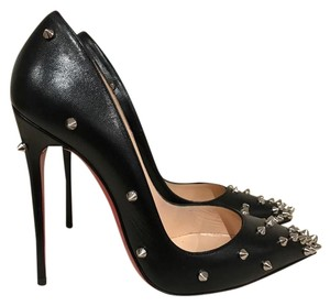 Christian Louboutin Degraspike Spike Stiletto Silver Leather black Pumps