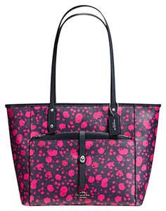 Coach Satchel Shoulder F34103 Tote in SILVER/MIDNIGHT PINK RUBY