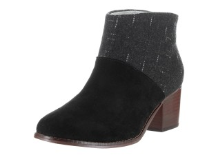 TOMS Leila Suede Black Suede/Dotted Wool Boots
