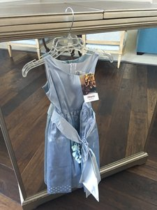 Blue Girls Size Age 8 - Blue Satin Dress With Sash And Flower Decoration. Dress