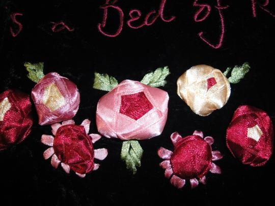 Lulu Guinness Womens Lulu Guiness Life is a Bed of Roses Black Velvet Ribbon Roses Flowers Shawl Scarf Wrap Image 1