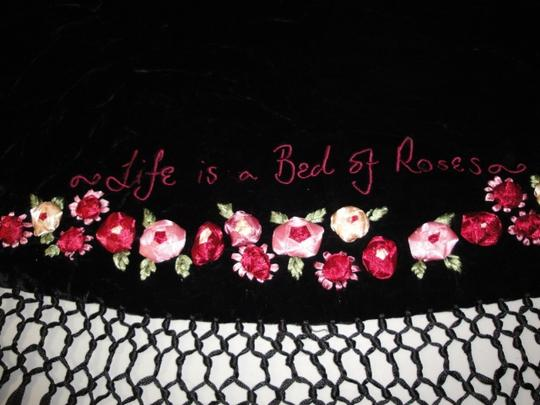 Lulu Guinness Womens Lulu Guiness Life is a Bed of Roses Black Velvet Ribbon Roses Flowers Shawl Scarf Wrap Image 3