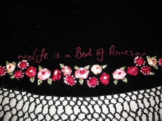 Lulu Guinness Womens Lulu Guiness Life is a Bed of Roses Black Velvet Ribbon Roses Flowers Shawl Scarf Wrap Image 4