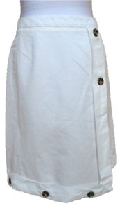 John Galliano Linen Nautical Straight Skirt Ivory
