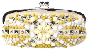 Chloé Beaded Silver Cream Clutch