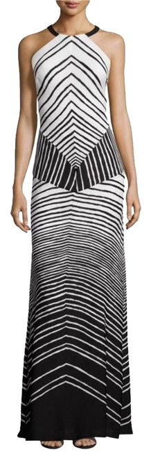 Item - Black and White Heritage New Halter-neck Maxi Striped Long Cocktail Dress Size 0 (XS)